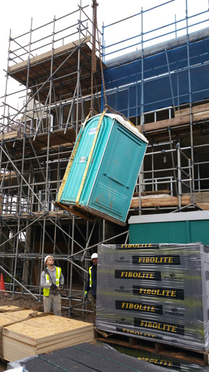 Portable Toilet at Construction Site